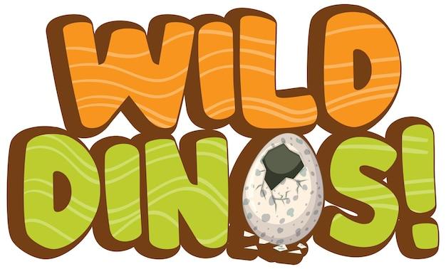 Wild dinos-lettertypebanner op wit