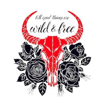 Wild en vrij. vintage dierenschedel met hoorns en roze rozen. handgetekende illustratie