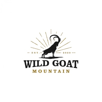 Wild geit ram silhouet logo ontwerp - lange hoorn wilde geit boerderijen