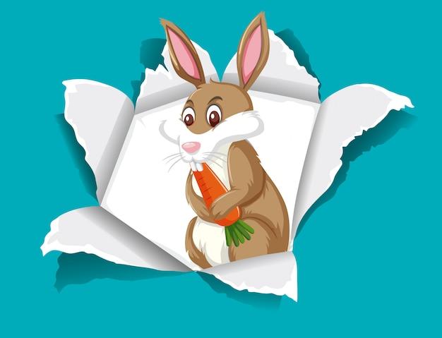 Wild konijn dat wortel eet