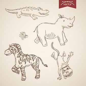 Wild leven dierentuin vriendelijke grappige dieren icon set.