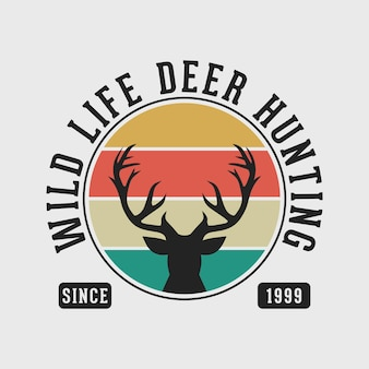 Wild leven herten jacht vintage typografie jacht camping t-shirt ontwerp illustratie