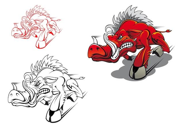 Wild lopend zwijn als een tatoeage of mascotte