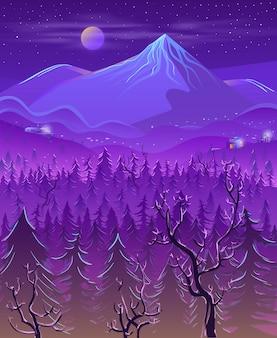 Wild noordelijk land landschap cartoon