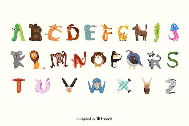 Wild schattige dieren alfabet in plat ontwerp