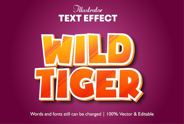 Wild tiger 3d pop-up teksteffect