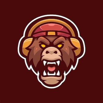 Wild tiger mascot e-sports logo character