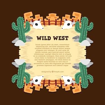 Wild west achtergrond met cactus en schedels