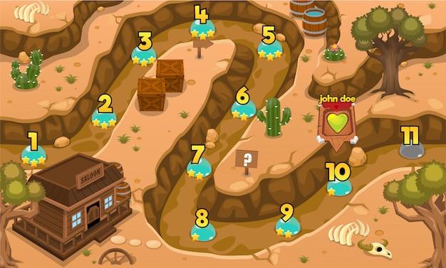 Wild west-spelniveaukaart