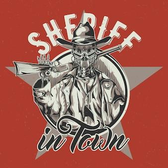 Wild west t-shirt labelontwerp met illustratie van robot cowboy