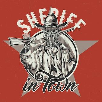 Wild west t-shirt labelontwerp met illustratie van robotcowboy.