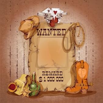 Wild west wilde man voor beloning poster met cowboy elementen vector illustratie