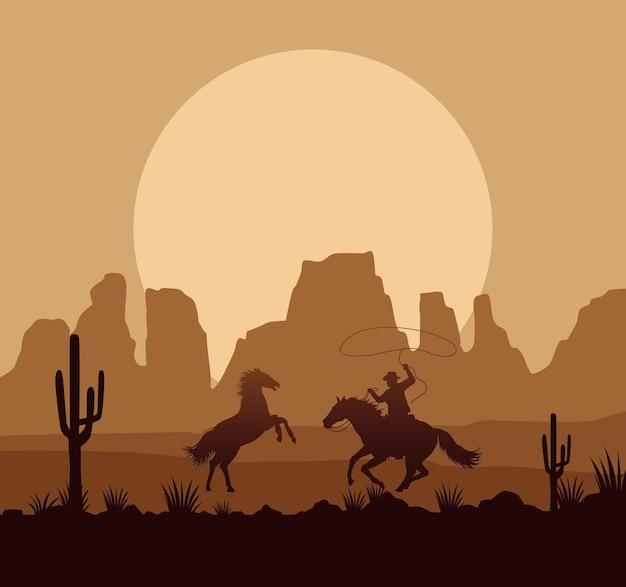 Wild west woestijn zonsondergang scène met paarden en cowboy Premium Vector