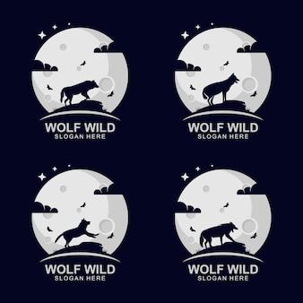 Wild wolf silhouet logo ontwerpconcept op de moo