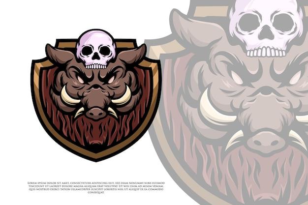 Wild zwijn hoofd en schedel logo of illustratie