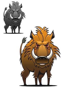 Wild zwijn in cartoon-stijl als een tatoeage of mascotte
