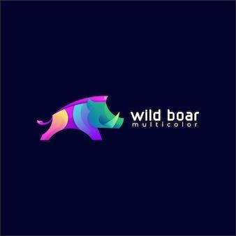 Wild zwijn kleurverloop kleurrijke logo sjabloon