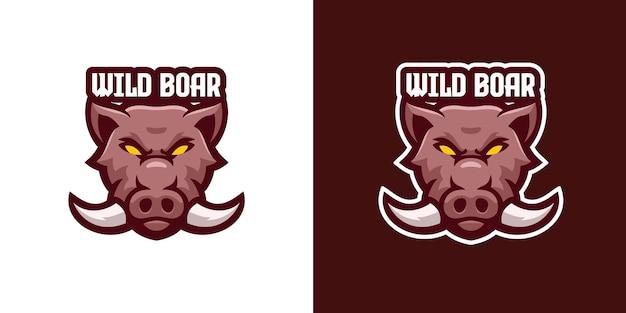 Wild zwijn mascotte karakter logo sjabloon