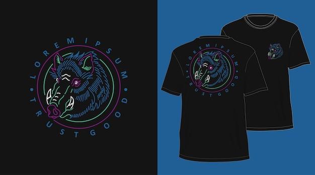 Wild zwijn vintage monoline hand getrokken t-shirtontwerp
