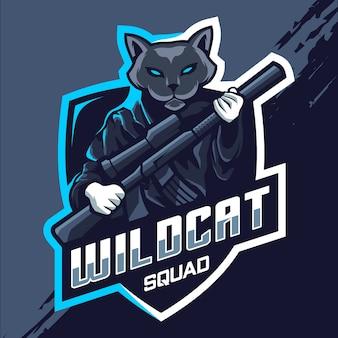 Wildcat squad esport mascotte logo ontwerp