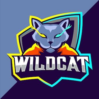 Wildcats mascotte esport logo ontwerp
