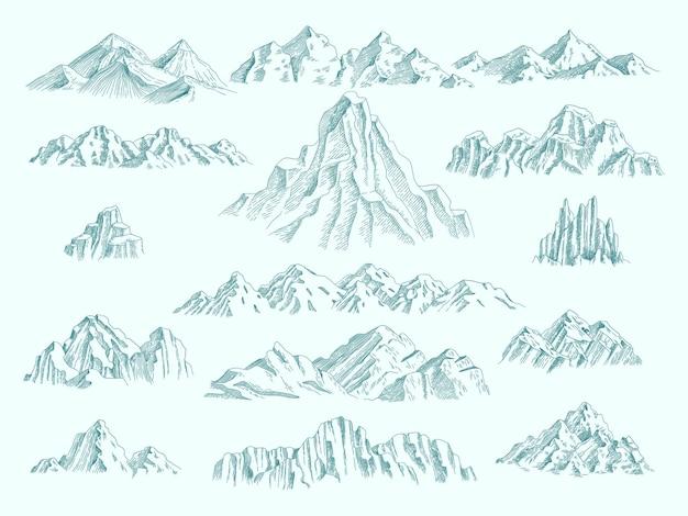 Wilde bergen. vrijheid concept collectie klimmen set rotsen hand getekende illustraties.