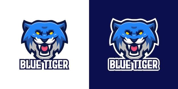 Wilde blauwe tijger mascotte karakter logo sjabloon
