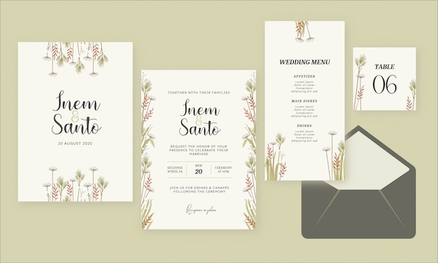 Wilde bloem aquarel rustieke bruiloft uitnodiging