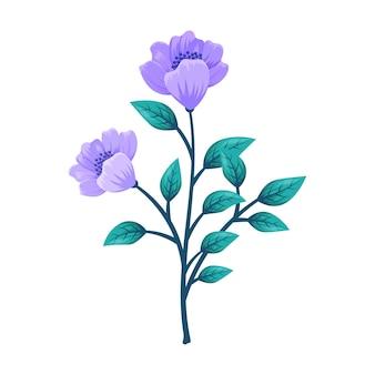 Wilde bloemen en bladerenillustratie die op wit wordt geïsoleerd