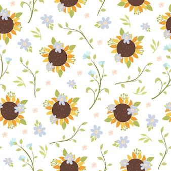 Wilde bloemen en zonnebloemen naadloos patroon