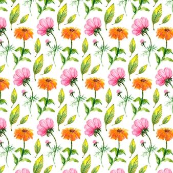 Wilde bloemen, waterverf, papaver, korenbloem, kamille naadloos patroon