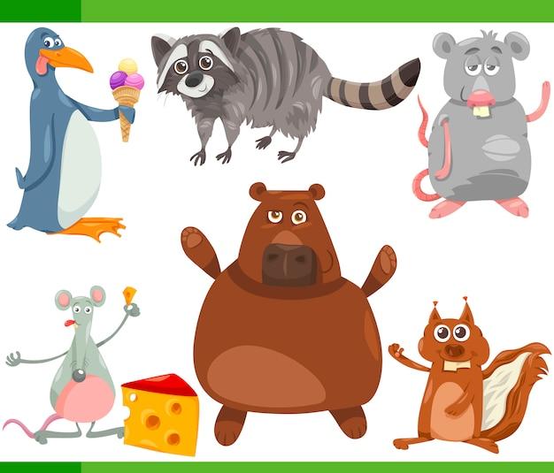 Wilde dieren cartoon afbeelding instellen