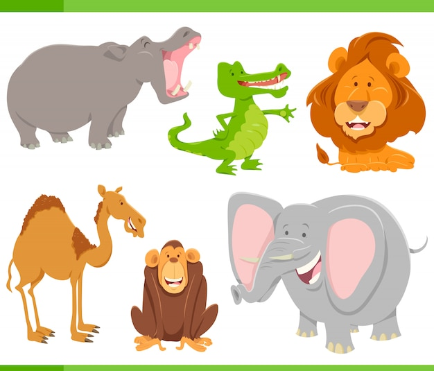 Wilde dieren cartoon characters-collectie