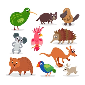 Wilde dieren in australië in vlakke stijl