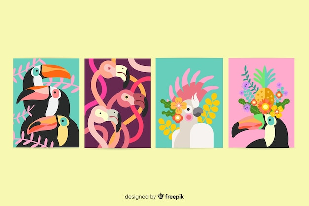 Wilde dieren kaart collectie, cartoon stijl