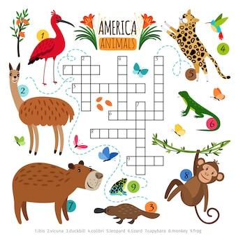 Wilde dieren kruiswoordpuzzel