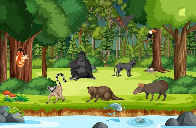 Wilde dieren met beek die door de bosscène stroomt