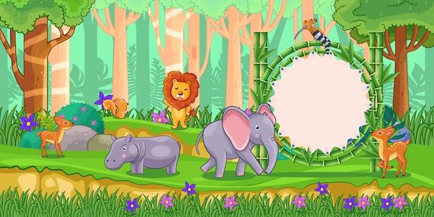 Wilde dieren met een leeg tekenbamboe in het bos