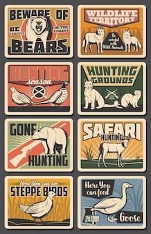 Wilde dieren, natuurpark vogels, jachtseizoen