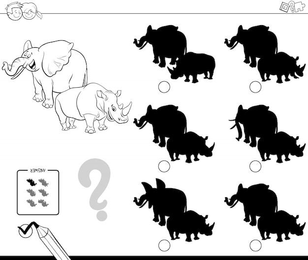 Wilde dieren schaduw spel kleurboek