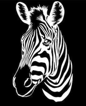 Wilde dieren van het prairiezebrahoofd op een zwarte achtergrondtekening voor tshirt