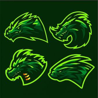 Wilde draak logo set