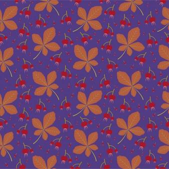 Wilde herfstbladeren naadloze patroonachtergrond