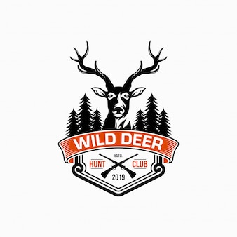 Wilde herten vintage logo vector ontwerpsjabloon