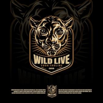 Wilde kat hoofd mascotte logo
