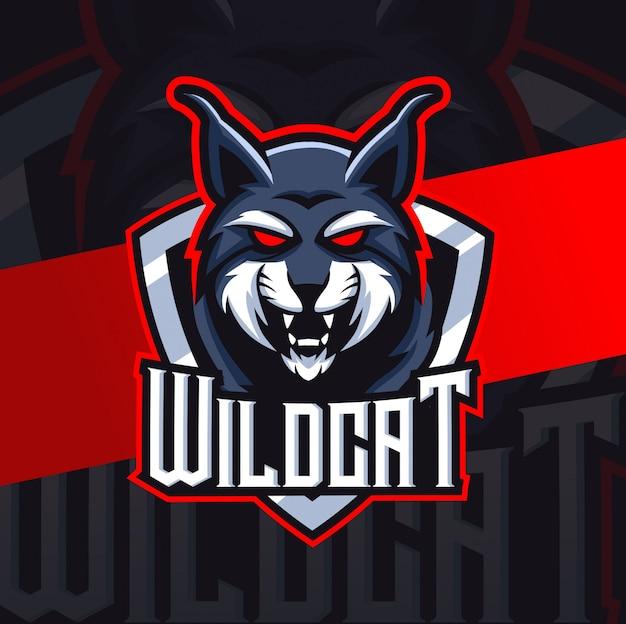 Wilde kat lynx mascotte esport logo-ontwerp