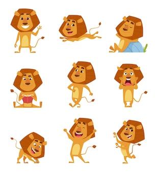 Wilde leeuwbeeldverhaal. schattige afrikaanse grote leeuwen mascotte in verschillende poses wandelen staande springen ontspannende vectorkarakters. leeuw roofdier geluk en dappere illustratie