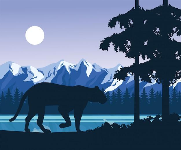 Wilde luipaard in de illustratie van de landschapsscène