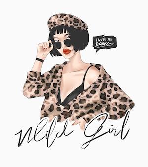 Wilde meisjesslogan met meisje in de illustratie van het luipaardoverhemd