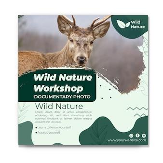 Wilde natuur flyer vierkante sjabloon